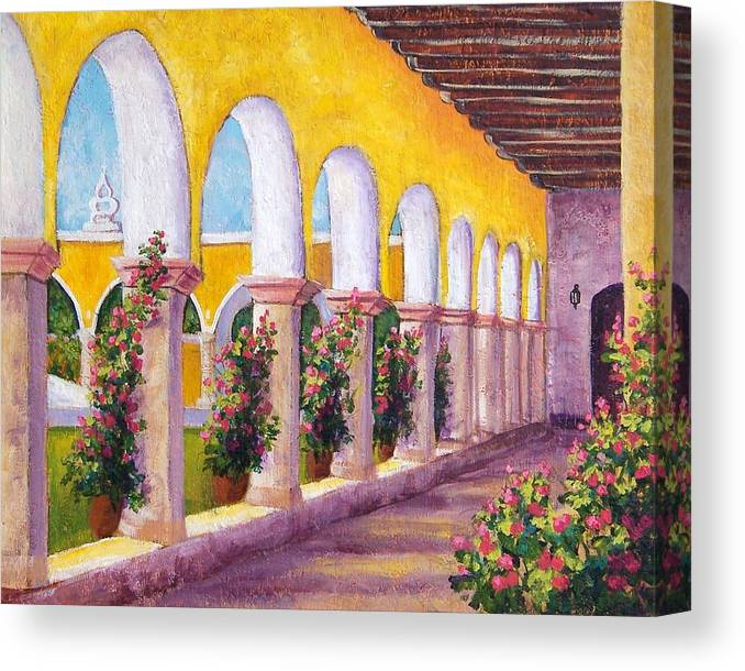 Landscape Canvas Print featuring the painting Izamal Arches by Candy Mayer