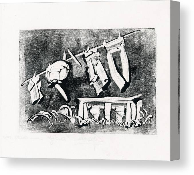Ink Canvas Print featuring the drawing Jeans by Claudine Despinoy