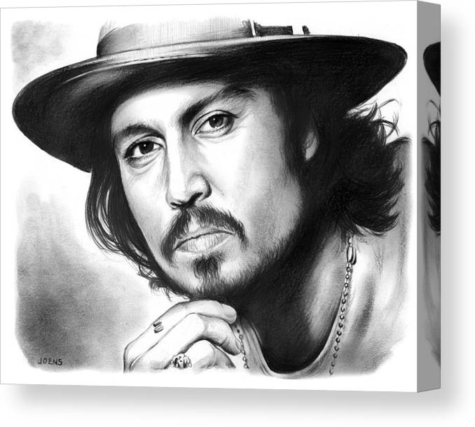 Johnny Depp Canvas Print featuring the drawing Johnny Depp by Greg Joens