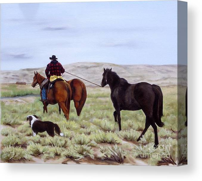 Art Canvas Print featuring the painting Just Might Rain by Mary Rogers