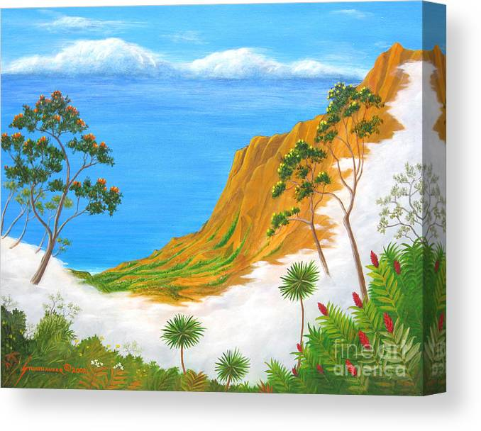 Landscape Canvas Print featuring the painting Kauai Hawaii by Jerome Stumphauzer