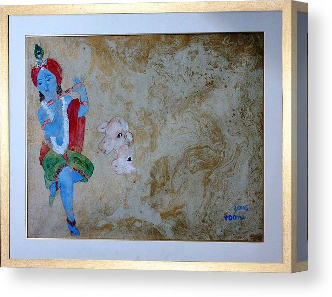 Lord Krishna Canvas Print featuring the painting Krishna by Rooma Mehra