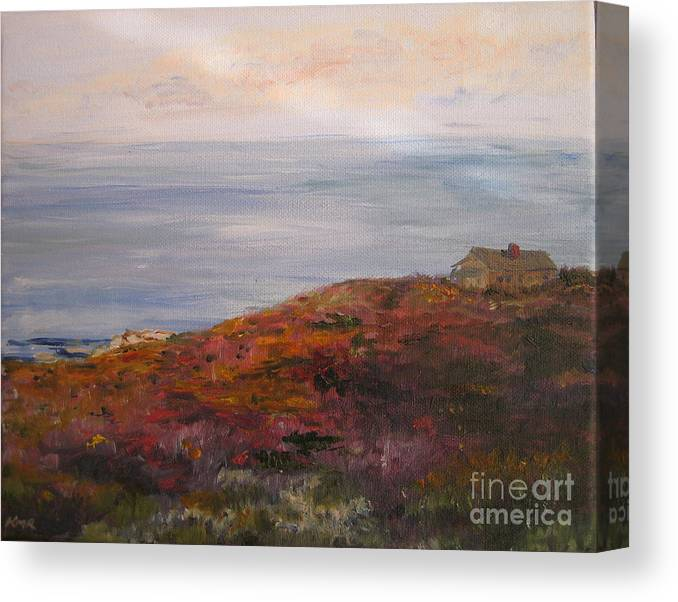 Landscape Canvas Print featuring the painting Late Afternoon On Rockport Seaside In Autumn by Kayla Race
