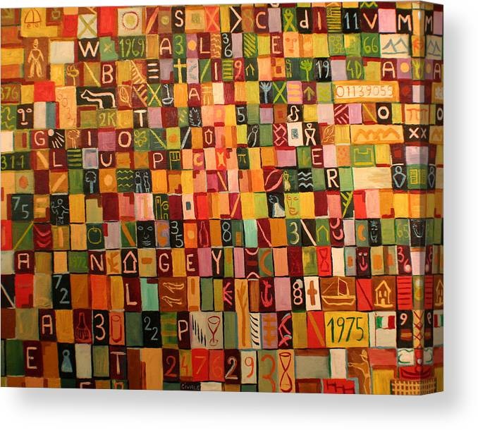 Canvas Print featuring the painting Letters And Numbers by Biagio Civale
