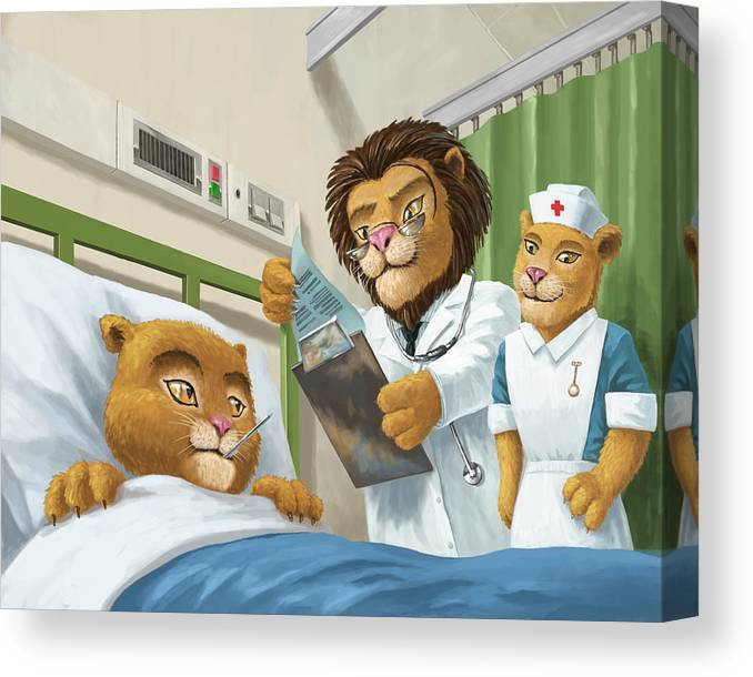 Bed Canvas Print featuring the painting Lion Cub In Hospital by Martin Davey