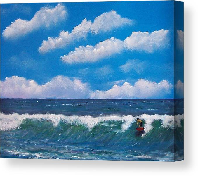 Seascape Canvas Print featuring the painting Lone Surfer by Tony Rodriguez