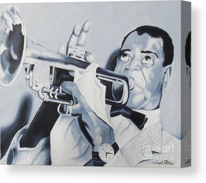 Idols Canvas Print featuring the painting Louis Armstrong by Joseph Palotas