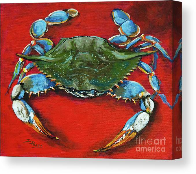 New Orleans Art Canvas Print featuring the painting Louisiana Blue On Red by Dianne Parks