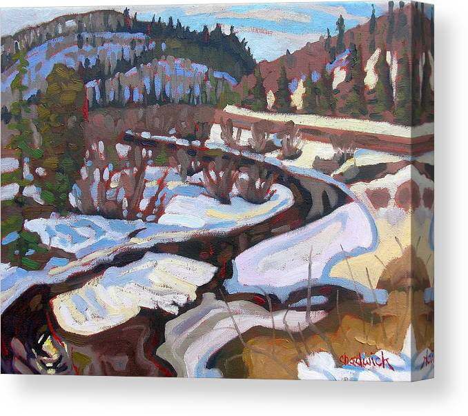 South Canvas Print featuring the painting Magnetawan Morning by Phil Chadwick