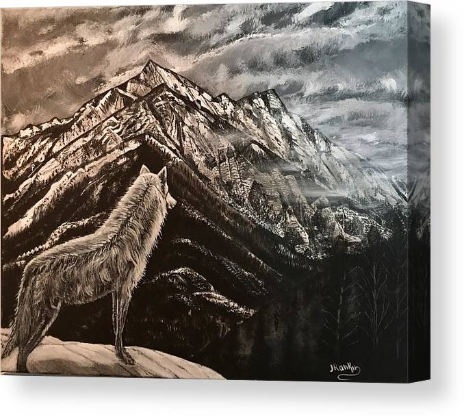 Wolf Canvas Print featuring the painting Majestic Wolf by John Rankin