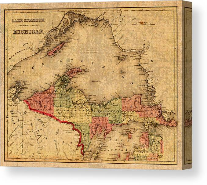 graphic relating to Printable Map of Upper Peninsula Michigan named Map Of Michigan Higher Peninsula And Lake Much better Classic Circa 1873 Upon Worn Distressed Canvas Canvas Print
