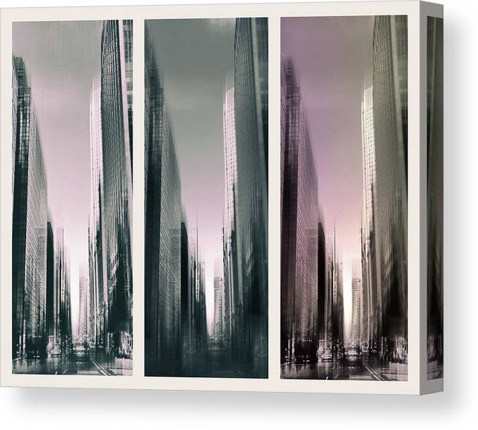 City Canvas Print featuring the photograph Metropolis Rush Hour Triptych by Jessica Jenney
