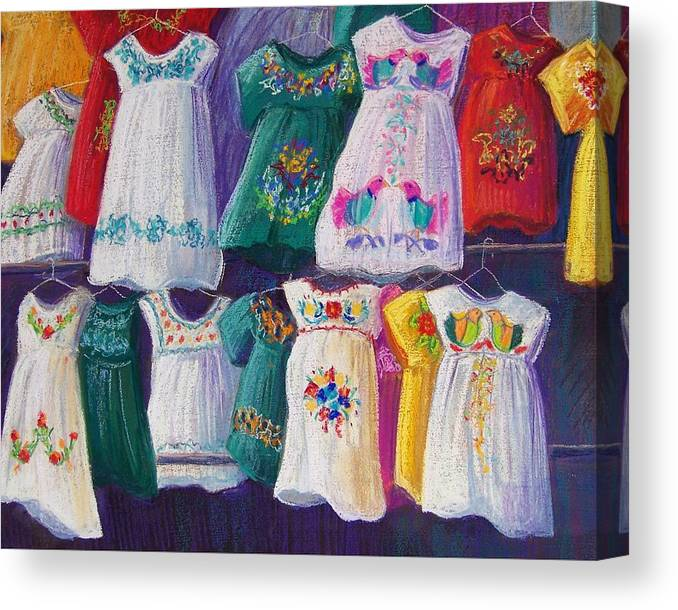 Dresses Canvas Print featuring the pastel Mexican Dresses by Candy Mayer