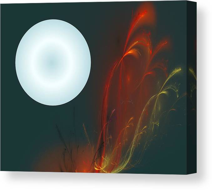 Digital Painting Canvas Print featuring the digital art Moon Over Fire Weed by David Lane