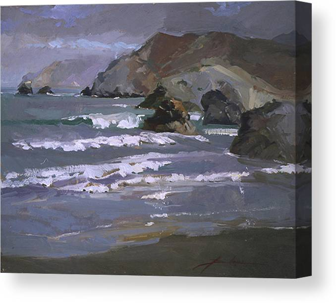 Seascape Canvas Print featuring the painting Morning Fog Shark Harbor - Catalina Island by Betty Jean Billups