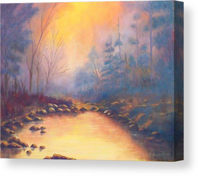 Sunrise Canvas Print featuring the painting Morning Mist by Merle Blair