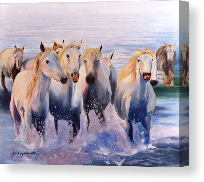 Canvas Print featuring the painting Morning Run by Jay Johnson
