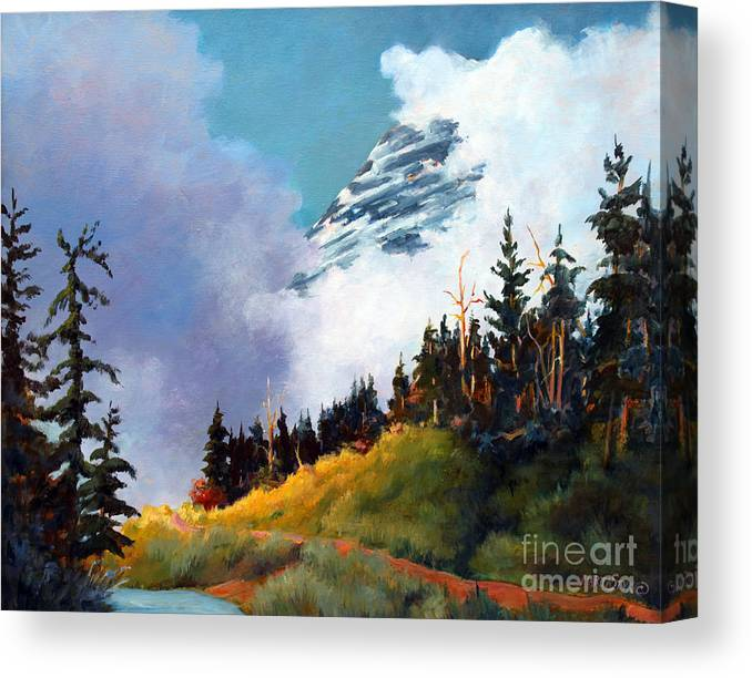 Landscape Canvas Print featuring the painting Mt. Rainier In Clouds by Marta Styk