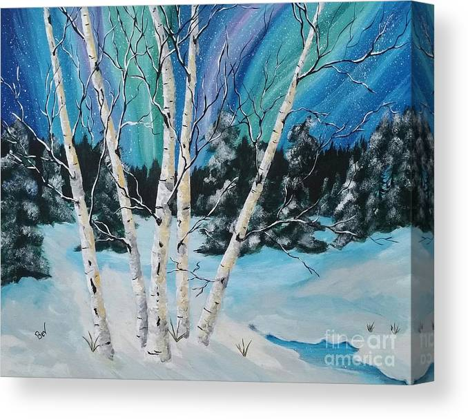 Northern Lights Canvas Print featuring the painting Northern Lights And White Birch Trees by Beverly Livingstone