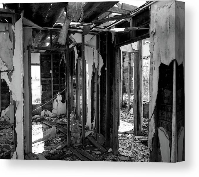 Derelect Canvas Print featuring the photograph Old House Interior Construction by Paul Moore
