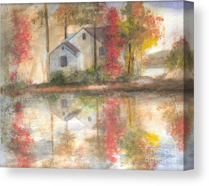 Landscape Canvas Print featuring the painting On The Mighty Fraser by Vi Mosley