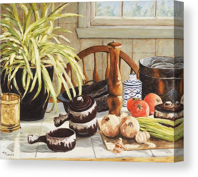 Onion Canvas Print featuring the painting Onion Soup Tonight by Richard T Pranke