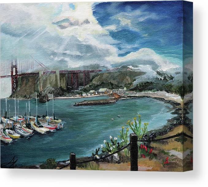 Golden Gate Bridge Canvas Print featuring the painting Open Invitation by April Zaidi