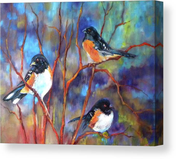 Orioles Canvas Print featuring the painting Orioles In Dogwood by Peggy Wilson
