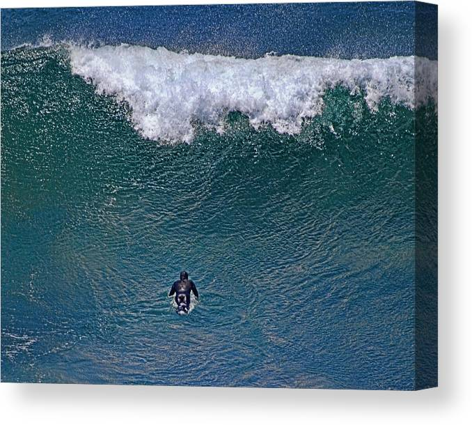 Surfing Canvas Print featuring the photograph Padding Into The Mavericks by Chuck Brittenham