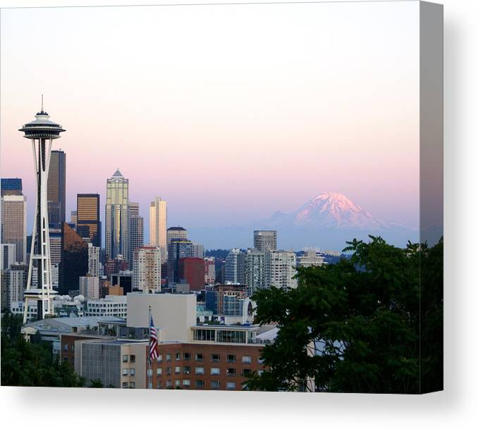 Cityscape Canvas Print featuring the photograph Pink Sky Over Mount Rainier by Sonja Anderson