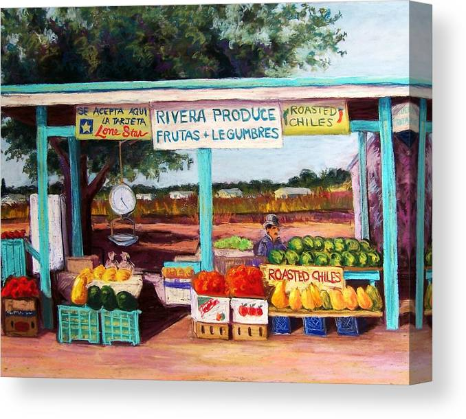 Cityscape Canvas Print featuring the pastel Produce Stand by Candy Mayer