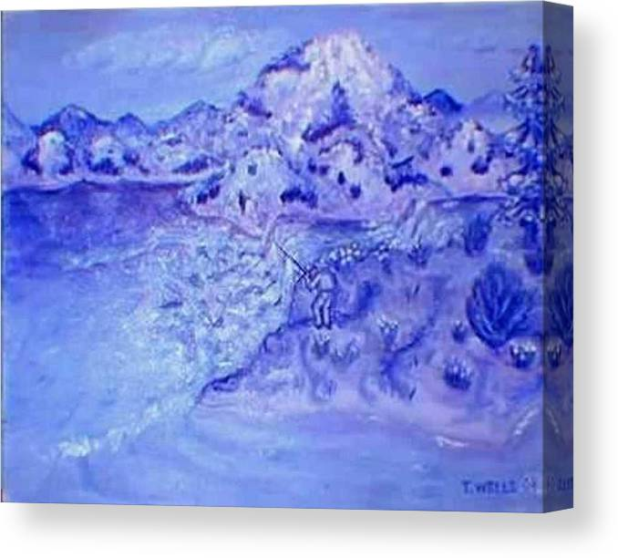 Monochromatic Purple Mountains Canvas Print featuring the painting Purple Majesty by Tanna Lee M Wells