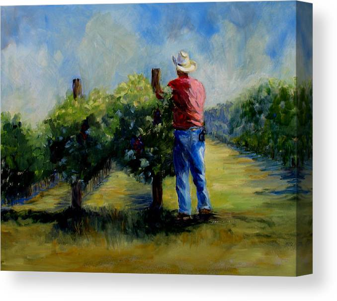 Landscape And Figure Canvas Print featuring the painting Red Mountian Worker by Joanne Massingale