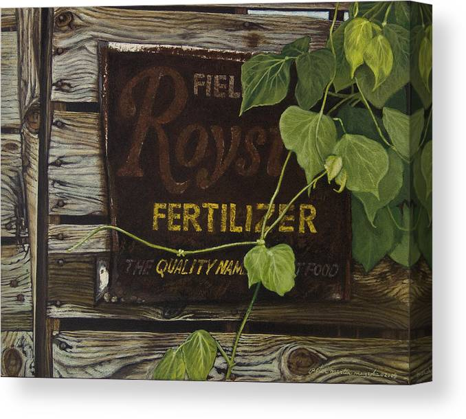 Landscape Canvas Print featuring the painting Royston Fertilizer Sign by Peter Muzyka