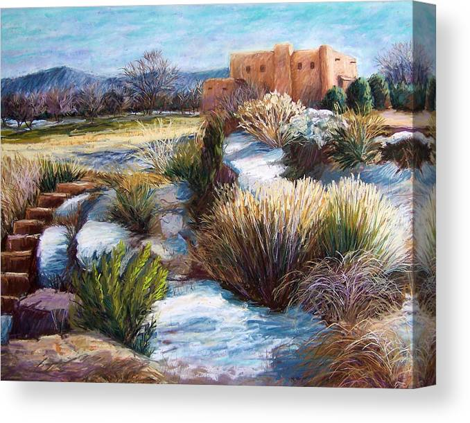 Landscape Canvas Print featuring the pastel Santa Fe Spring by Candy Mayer