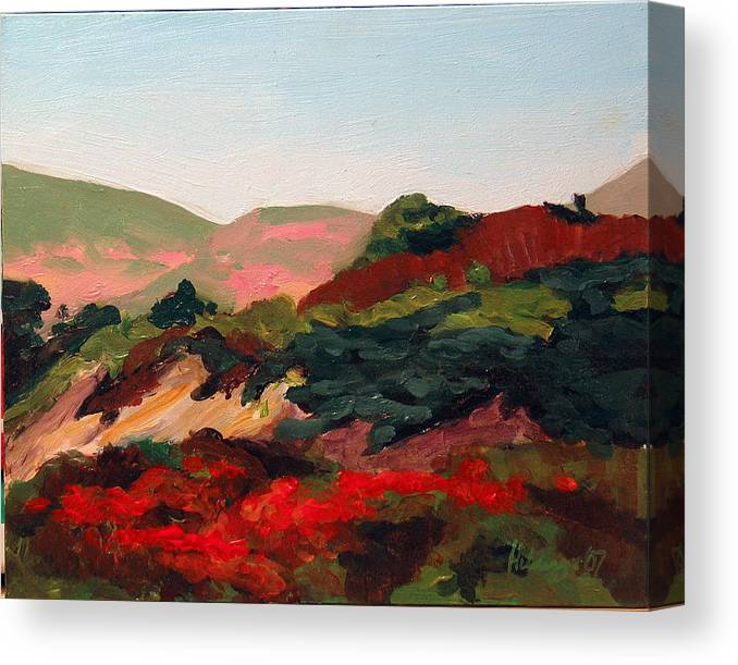 Landscape Canvas Print featuring the painting Santa Maria Hills by Deborah Hildinger