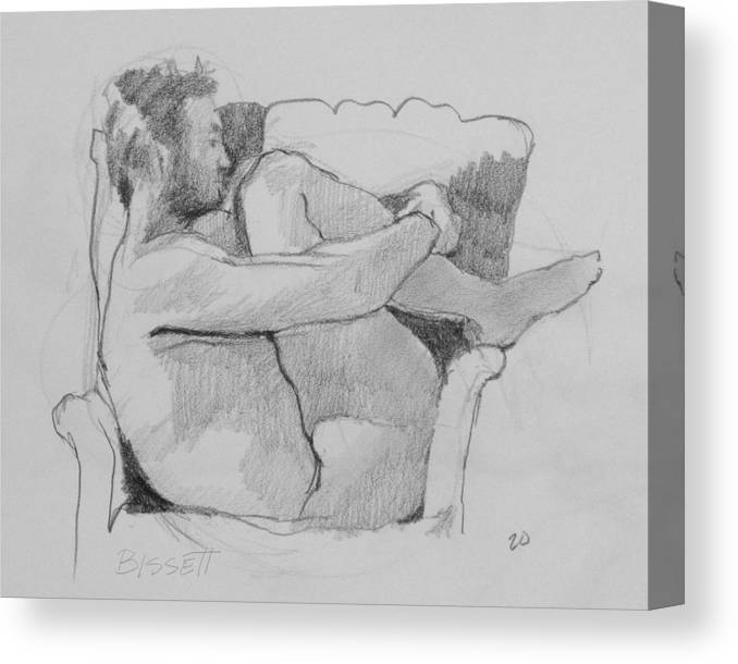 Life Canvas Print featuring the drawing Seated Nude 1 by Robert Bissett