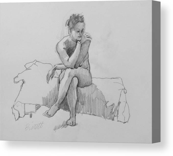 Life Canvas Print featuring the drawing Seated Nude 2 by Robert Bissett