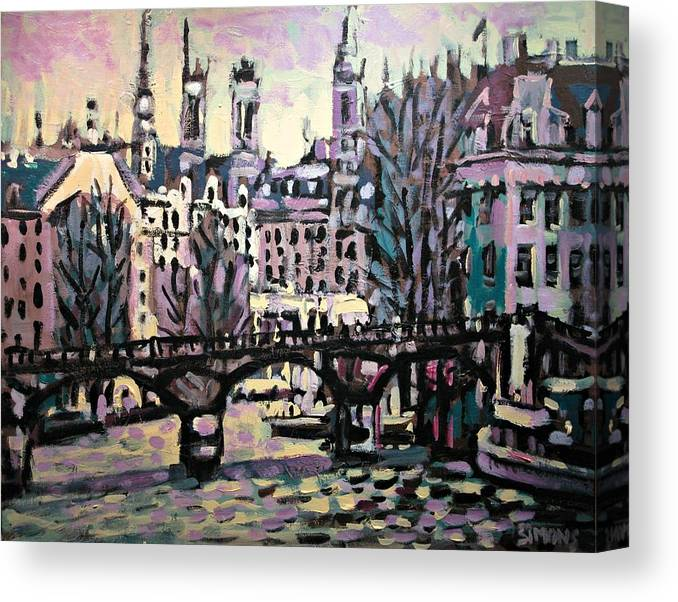 Landscape Canvas Print featuring the painting Seine by Brian Simons