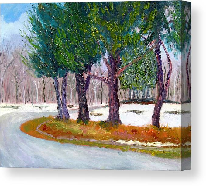 Landscape Canvas Print featuring the painting Sewp Spring Thaw by Stan Hamilton