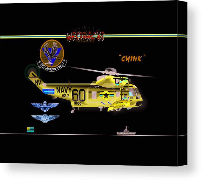 Canvas Print featuring the digital art Sh-3a Seaking From Hs-2 by Mike Ray