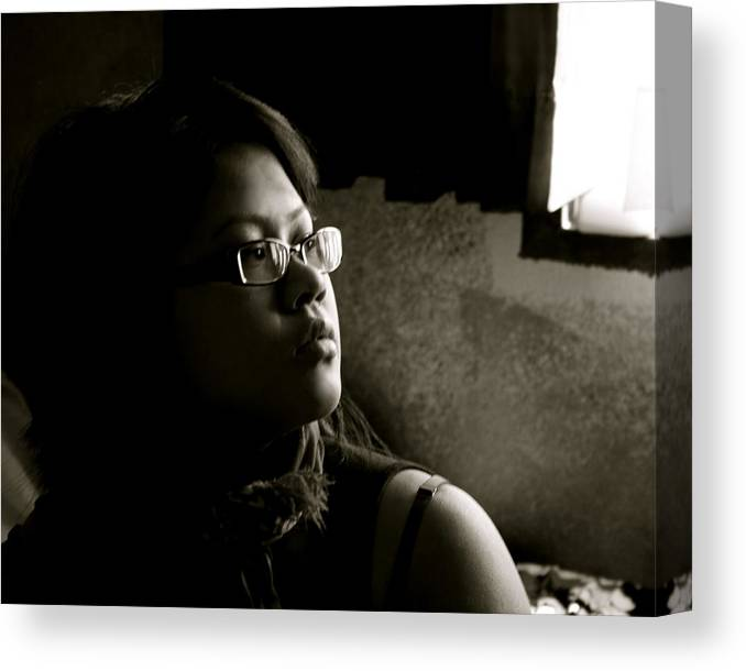 Portrait Canvas Print featuring the photograph Shadow by Aimee Galicia Torres
