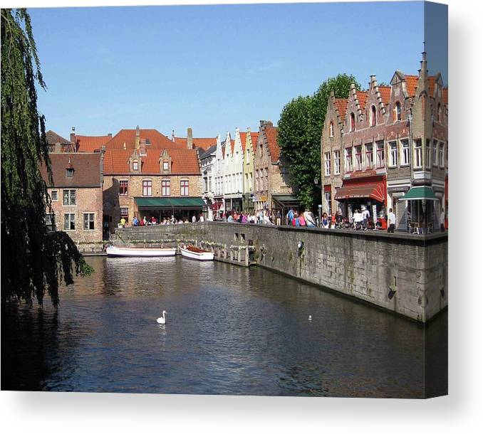 Swan Canvas Print featuring the photograph Shops Along The Canal by David L Griffin