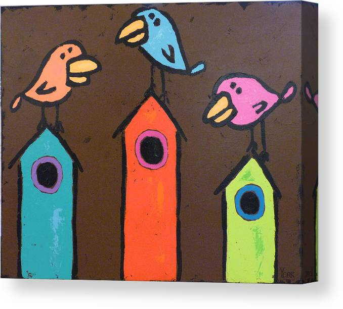Birds Canvas Print featuring the painting South For The Winter by Ron York