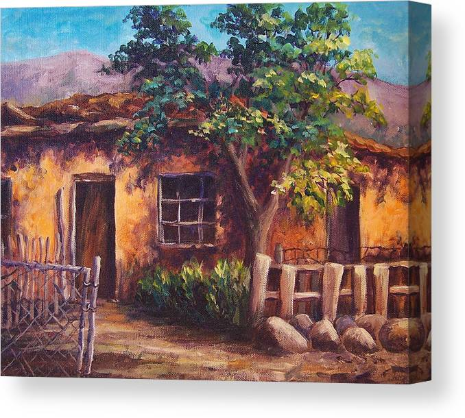 Landscape Canvas Print featuring the painting Southwest Adobe by Candy Mayer
