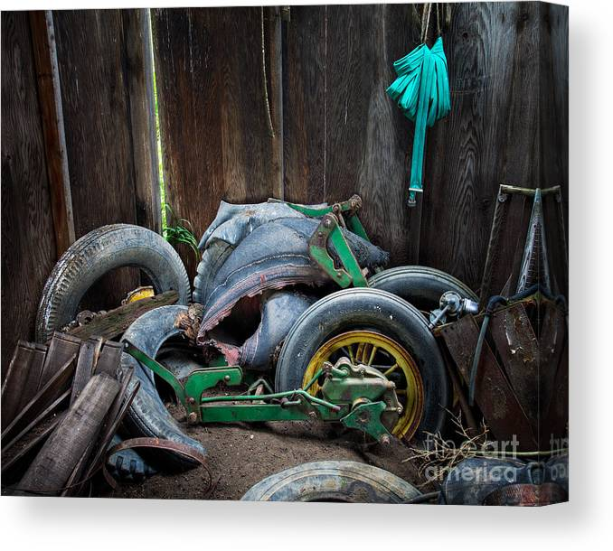 Old Canvas Print featuring the photograph Spare Tires A-plenty by Royce Howland