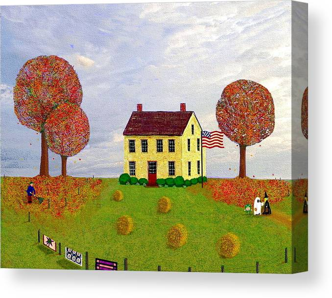 House Canvas Print featuring the painting Stone House In Autumn by Paul Little