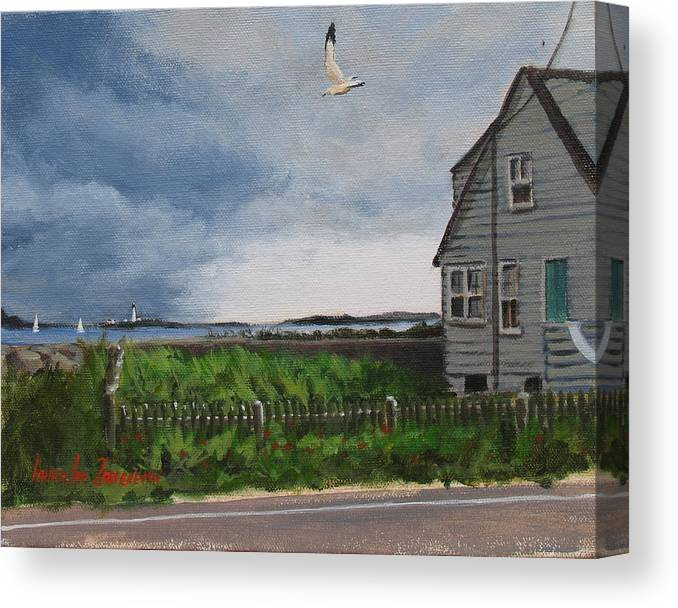 Seascape Canvas Print featuring the painting Storm Over Hull by Laura Lee Zanghetti