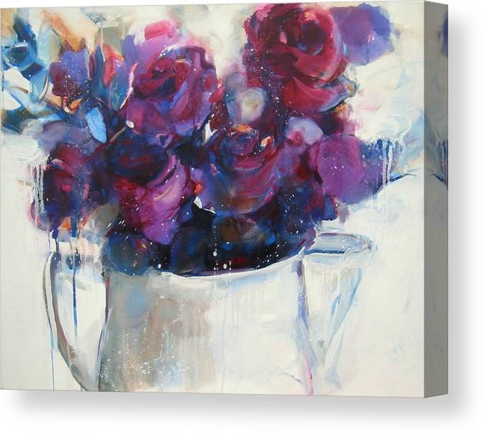 Rose Canvas Print featuring the painting Strawberry Ripple by Sharleen Boaden