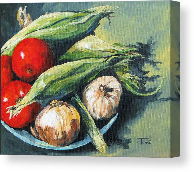 Onion Canvas Print featuring the painting Summer Vegetables by Torrie Smiley
